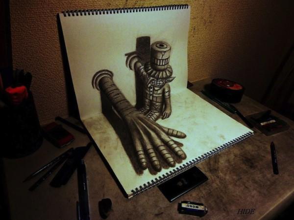 3d рисунки на бумаге от нагаи хидеюки