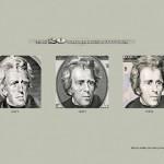 Портреты президентов на долларах разных лет выпуска выглядят моложе