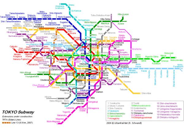 Схемы всех метроплитенов Азии.  Карта метро Токио Япония Tokyo map.