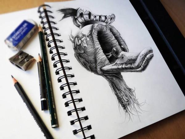 карандашом рисунков фото объемных