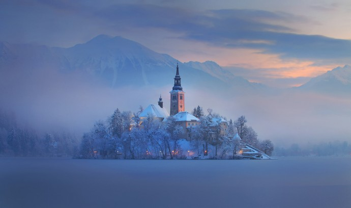 Bled, Lake, Island, winter magical, landscape, slovenia, fog, sunrise