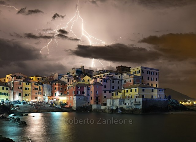 Storm and lightning on Boccadasse