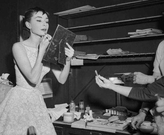 Audrey Hepburn Applying Lipstick Before Academy Awards Presentation