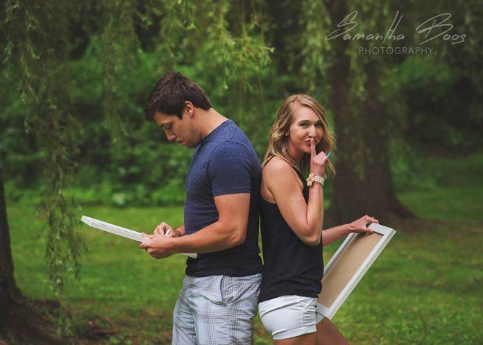 Жена и муж снимаются