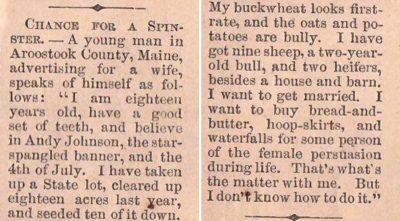18-летний парень искал жену в 1865 году, но его объявление в газете выглядит очень заманчивым и сейчас