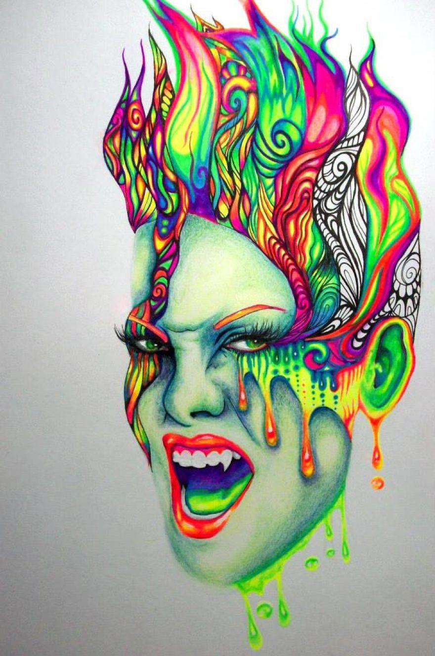 Крутые рисунки цветными ручками