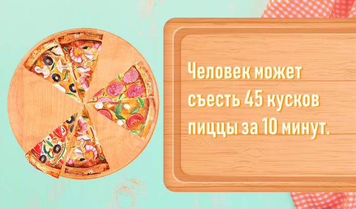 Человек может съесть 45 кусков пиццы за 10 минут.